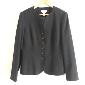 Talbots Wool Black Collarless Blazer